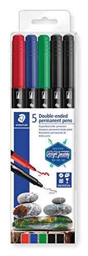 STAEDTLER Design Journey 3187 TB5. Rotuladores permanentes de doble punta. Caja con 5 marcadores de colores variados.