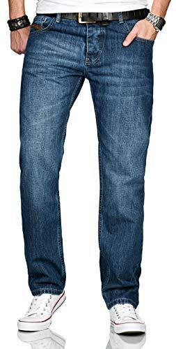 A. Salvarini Designer Herren Jeans Hose Basic Stretch Jeanshose Comfort Fit [AS-201-Mittelblau-W32-L32]