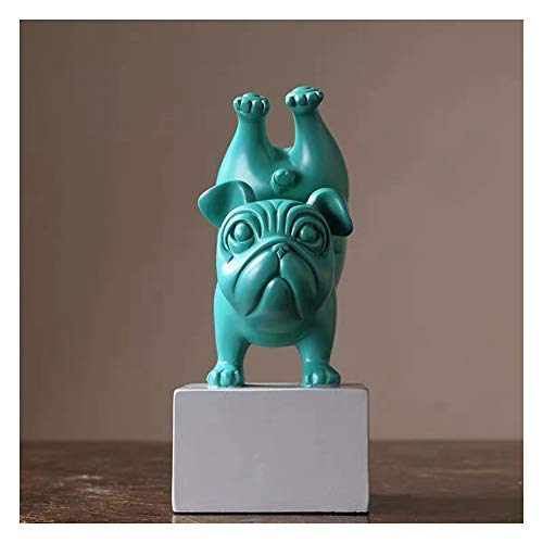 ZHIFENGLIU Yoga Dog Statue, French Bulldog Ornaments, Animal Resin Home Accessories, Living Room Children's Room Doll,Green