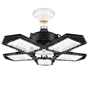 LED Garage Lights, 150W Deformable 5 Leaf Garage Ceiling Light with 15000LM Deformable Led Bulb,270°Adjusted Beaing Exposure, Led Shop Light for Working Light,Barn,6500K (Black)