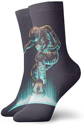 tyui7 Astronaut Scooter Calcetines de compresión antideslizantes Cosy Athletic 30cm Crew Calcetines para hombres, mujeres, niños