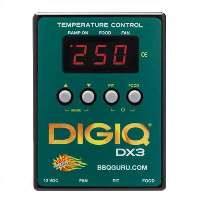 DigiQ DX3 BBQ Temperature Controller Green and Digital Meat Thermometer for Big Green Egg, Kamado Joe, Weber, and Ceramic Grills
