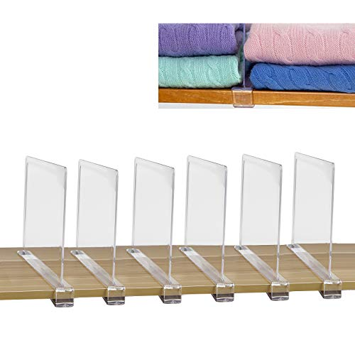 SWAWIS Juego de 6 separadores de estantes, separadores de baldas para Armario, separadores de Sistema de Armario, Sistema de estanterías sin taladrar