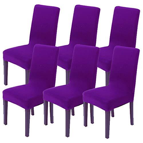 Littleprins Stuhlhussen 6er Set Stuhlbezug elastische Hussen für Stühle Schwingstühle Stretch Stuhlüberzug für Esszimmer Stuhl Hochzeit Partys Bankett (lila)