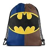 Drawstring Backpack Bags Gym Sports Customized Batman Logo String Bags for Women Men Teens Large Waterproof Cinch Bag Heavy Duty Sackpack