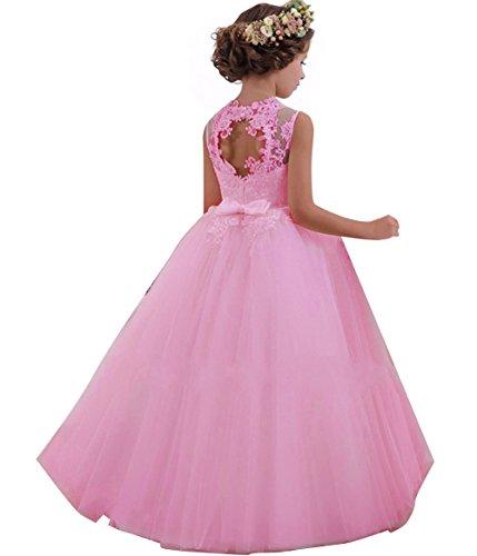 LZH Mädchen Kleider Kleid Tüll Spitze Hochzeit Prinzessin Party Kleider, Rosa, 7-8 Jahre (Herstellergröße: 130)