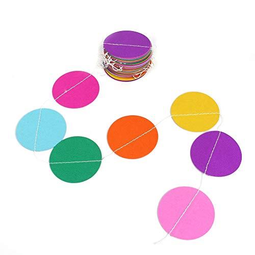 Hazmemejor Paper Circle Garland - 4M lange papieren cirkel stippen opknoping decoratie String Party slinger regenboog kleur (zeven kleuren)