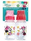 Disney Minnie Mouse 'Sitting Pretty' - Botellas de cuello ancho (2 unidades), Fucsia, Talla única