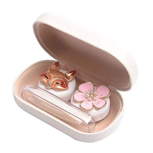 Netter Fuchs Weiß Kontaktlinsen Box Halter-Behälter-Kasten Aufbewahrungs-Eyecare-Kit einweichen, B11