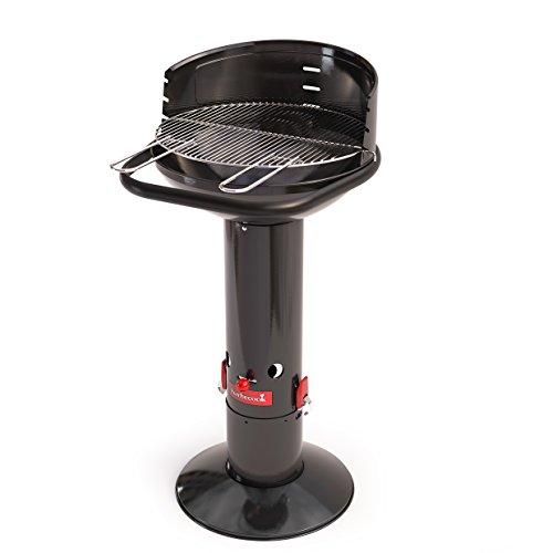 Barbecook Säulengrill rund Standgrill Edelstahl schwarz 96-cm hoch Grillrost 45-cm