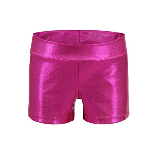 Girls Dance Short Gymnastics Athletic Shorts Sparkle Glitter Tumbling Bottoms, Rose Red, 130 (for 7-8 years)