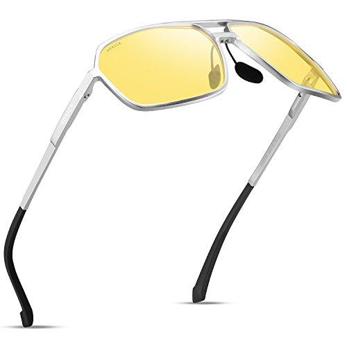 SOXICK Night Driving Glasses For Men Polarized Anti-glare Glasses (Silvery)