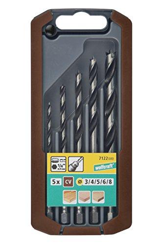 Wolfcraft 7122000 (L) brocas espiral para madera, con vástago compuesto de diametro 3,0-4,0-5,0-6,0-8,0 mm en caja deslizante de plástico 2k PACK 5, 0 V, gris, Set de 5 Piezas
