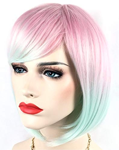 Cute Sexy Multi-colored Bob Wig Short Hair & 1 Wig Cap for Kawaii Anime Cosplay Costume Accessories, for Halloween Christmas Birthday Theme Party; WIG7D