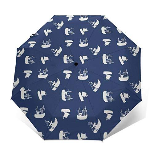 TISAGUER Paraguas automático de Apertura/Cierre,Imágenes de Dibujos Animados Minimalistas de Barcos y veleros,Paraguas pequeño Plegable a Prueba de Viento