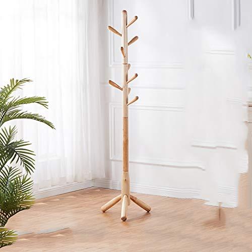 Perchero para Abrigos Perchero de árbol con 9 ganchos, con patas de madera Escudo Rack, Puerta de entrada Percha Soporte for el sombrero, ropa, bufandas, bolsos, paraguas pasillo perchero de pie