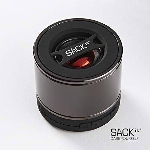SACKit – WOOFit S Bluetooth-Lautsprecher – kleine Bluetooth Box ideal für Ausflüge oder Parties – kompakter Mini Lautsprecher im dänischen Design – schwarz und grau