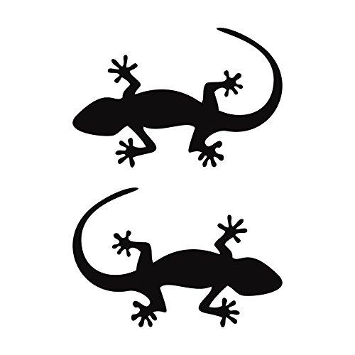 Folistick 2 Stück Gecko Aufkleber Salamander Aufkleber Heckscheibe Autoaufkleber (SCHWARZ)