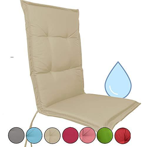JEMIDI Stuhlauflage wasserabweisend für Hochlehner Gartenstühle Gartenstuhlkissen 120cm x 50cm x 5cm (Creme)