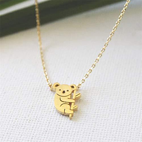 Simsly - Collana con ciondolo a forma di koala, per donne o ragazze, semplice, in oro o argento, ottima idea regalo.