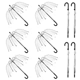 WASING 10 Pack 46 Inch Clear Bubble Umbrella Large Canopy Transparent Stick Umbrellas Auto Open Windproof with Black European J Hook Handle Outdoor Wedding Style Umbrella for Adult