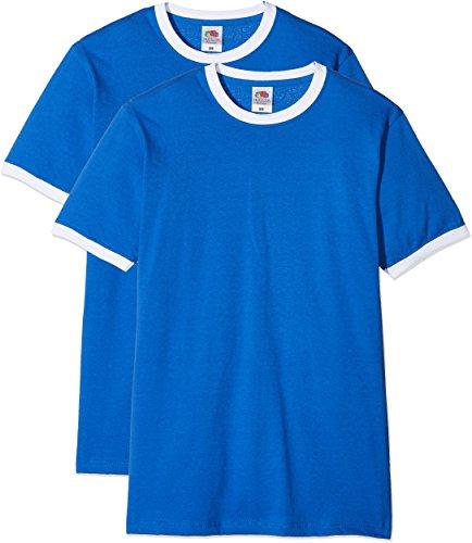Fruit of the Loom Ringer Premium Camiseta, Azul Real/Blanco, S (Pack de 2) para Hombre