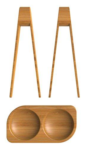 Pebbly NBA046 Lot de 2 Pinces à Sushi/Coupelle Bois Naturel