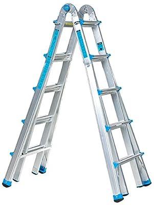 Workman Ladders 17 Foot Multi Configuration Ladder, Sliver/Light Blue