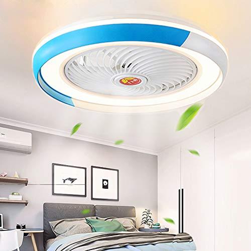 Ventilador De Techo Con Iluminación LED 36W Ventilador De Control Remoto Plafón Moderno Invisible Dormitorio Sala De Araña De Habitación De Los Niños De Los Niños De La Lámpara De Iluminación,Azul