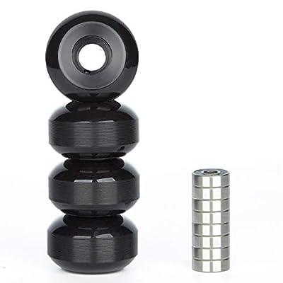 NONMON 4X Räder für Skateboards Rollen 52mm 95A mit 8X Kugellager 608RS ABEC 9 für Skateboard,Schwarz