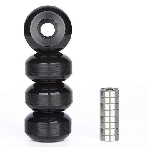 NONMON 4X Ruedas de Skateboards Monopatín Wheels 52mm 95A con 8X Rodamientos Cojinetes de Skateboards Abec9 Bearings,Negro