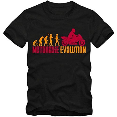 Motorbike Evolution #1 T-Shirt | Motorrad | Bike | Motorcross | Herren | Shirt, Farbe:Schwarz (Deep Black L190);Größe:XXL