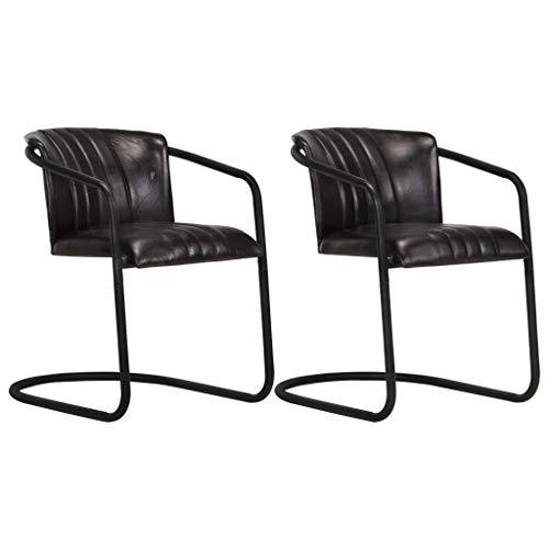 vidaXL 2X Esszimmerstuhl Freischwinger Schwingstuhl Stuhl Set Polsterstuhl Stühle Küchenstuhl Essstuhl Wohnzimmerstuhl Lederstuhl Schwarz Echtleder