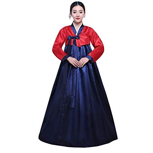 Xinvivion Hanbok Tradicional Coreano de Manga Larga Colorido Hanbok Cosplay Stage Costume Set de Baile Minoritario para Mujeres