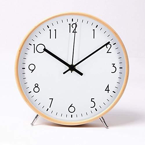 ALEENFOON Quarz-Wanduhr aus Holz, 22 cm, modern, leise, nicht tickend, für Wohnzimmer, Schlafzimmer, Büro, Küche, Innenbereich, Kinder (weiß)