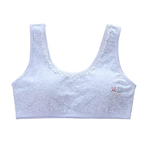 PHILSP Sujetador de niña Sujetador de Entrenamiento de algodón para niñas Correa Ancha Encaje Cuello en U Bralette Chaleco Acolchado Gris