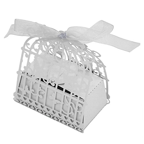 50PC Candy Box,Morecome Birdcage Flowers Laser Cut Favor Candy Box (White)