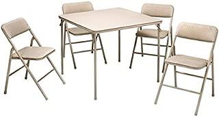 Cosco Folding Table and 5-piece Chairs Set Heavy-Duty Tubular Steel Frames