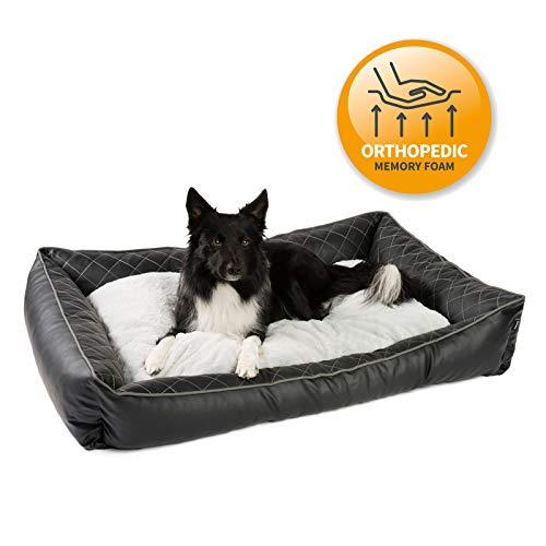 JAMAXX Premium Kunstleder Hundebett - Orthopädisch Memory Schaumstoff, Fell-Wendekissen Abwaschbarer Bezug Hygienisch - Wasserabweisendes PU-Leder, hochwertiges Hundekörbchen PDB2011 (M) 90x70 schwarz