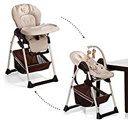 Hauck Sit'n Relax Newborn Set - Newborn attachment and highchair from birth, with lying function / incl. Play bow, table, castors / height-adjustable, with growing, foldable, zoo (brown)