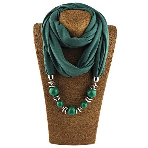 Cuigu Damen Schal Halsketten, Solid Color Schal Perlen Halstuch mit Schmuck (No.11)