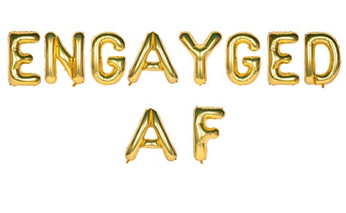Engagement Letter Balloon Banner, Air-Filled ENGAYGED AF Banner Sign for Gay Pride, Lesbian Wedding Shower, Bachelor Bachelorette Party Supplies, Same Sex LGBTQ Pride Month Parade Supplies, 13'', Gold