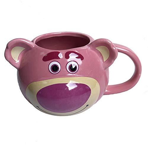 taza de porcelana Linda Taza De Café De Cerámica 3d Taza 350l Oso Animal De Dibujos Animados Tazas Rosa Pintadas Tazas De Café Vasos De Agua Para El Desayuno De Viaje Nuevo