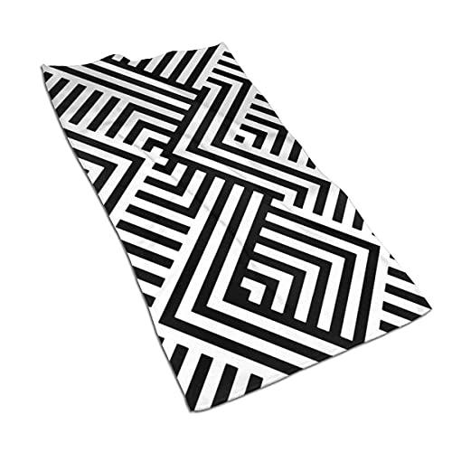 Hdadwy con Rayas, Negro, Blanco, líneas diagonales, romboides, Toalla de Mano, Ultra Suave, Altamente Absorbente, para Invitados, Toallas de Cocina portátiles, Toallas de té, toallitas, decoración de