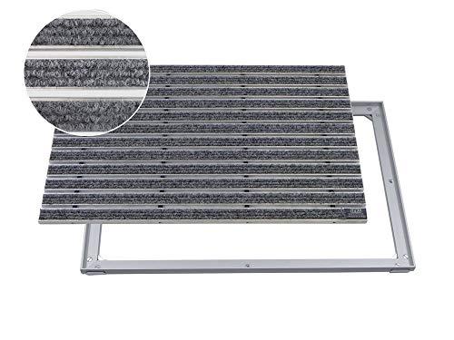 EMCO Eingangsmatte DIPLOMAT Rips hellgrau 12mm + ALU Rahmen Fußmatte Schmutzfangmatte Fußabtreter Antirutschmatte, Größe:600 x 400 mm