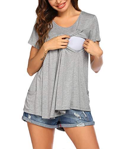 Ekouaer Nursing Tops for Women Breastfeeding Maternity Shirts with Pockets Pregnancy Shirt for Hospital Home, Basic Nursing Shirt Grey