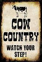簡素な雑貨屋 Cow Country ブリキ看板 ガレージ 車 レトロ アメリカン 雑貨