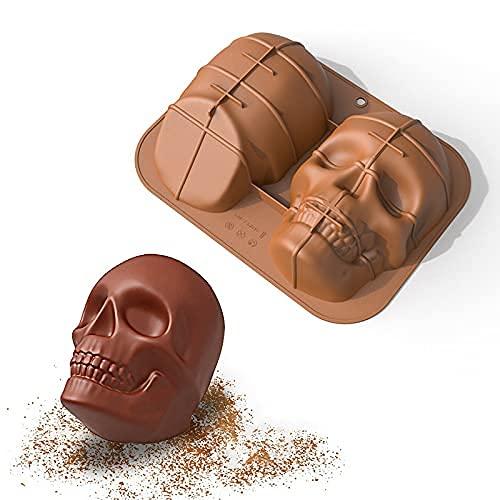QKFON Große, realistische, lebensmitteltaugliche Silikon-Kuchenform mit Totenkopf-Motiv, hohe Temperatur, DIY-Backform, sicher für Halloween-Party-Dekorationen, Geschenke