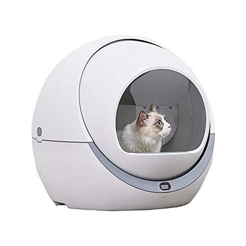 HAOHAO Cat Litter Box, Automatische Haustierkatzentoilette, Automatische intelligente Katzentoilette, Deodorant Spritzwassergeschützt und geräuscharm, saubere elektrische Katzenklo, Weiß