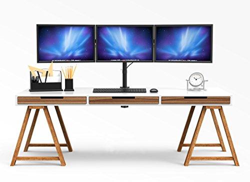 BONTEC Monitor Halterung 3 Monitore 13-24 Zoll LED und LCD Monitor Schreibtisch Monitorständer neigbar 180° schwenkbar 360° höhenverstellbar 10kg für jeden Monitor VESA 75/100 Schwarz